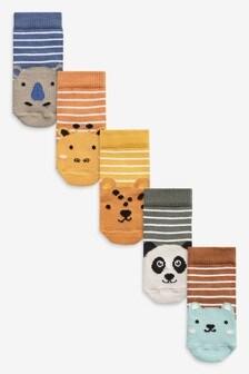 5 Pack Animal Stripe Socks (Younger)