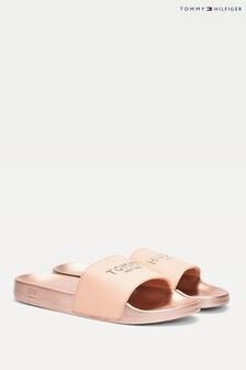 Tommy Hilfiger Pink Glitter Pool Slides