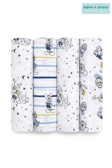 aden + anais® Essentials Muslin Swaddle Blanket 4-pack - Mickey Stargazer (112 x 112 cm)