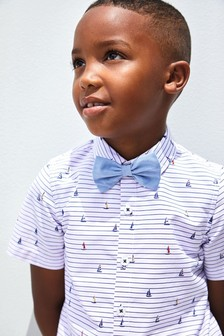 Monsoon Metallic Aaron Stripe Shirt And Bow Tie Set