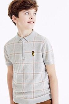Рубашка поло в клетку с воротником на молнии (3-16 лет)