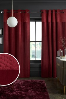 Red Velvet Quilted Hamilton Top Panel Eyelet Lined Curtains