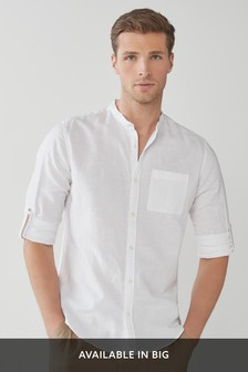 Linen Blend Long Sleeve Shirt