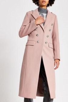 Светло-розовое пальто в стиле милитари River Island