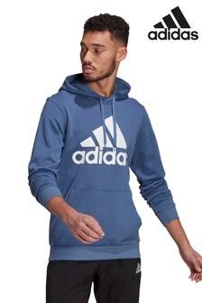 adidas藍色Badge of Sport套頭連帽上衣