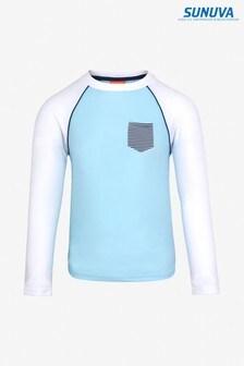 חולצת גלישה שלSunuva עם שרוול ארוך בשילוב צבע כחול