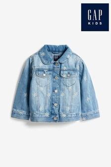 Jeansowa kurtka Gap z kwiatowym haftem