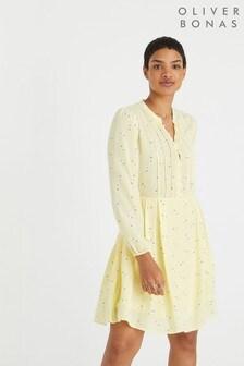 Oliver Bonus Yellow Floral Print Mini Dress