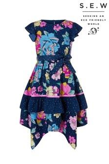 Tmavě modré puntíkované šaty s květy Monsoon S.E.W Brea