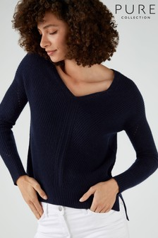 Pure Collection Blue Gassato Pointelle Detail V-Neck Sweater