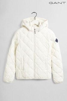 Белая легкая дутая куртка с диагональной отстрочкой GANT