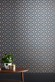 Paste The Wall Metallic Star Geo Wallpaper