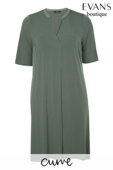 Evans Curve Khaki Pocket Dress