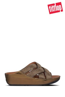 FitFlop™ Brown Lattice Crystal Cross Sliders