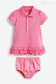 Ralph Lauren Pink Logo Ruffle Polo Dress