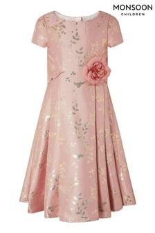 Ružové žakárové šaty Monsoon Sadie s motívom kvetov