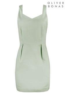 Серо-зеленое мини-платье фасонного кроя Oliver Bonas