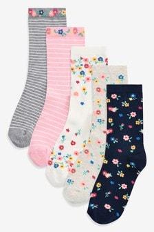 Lot de cinq paires de chaussettes motif floral