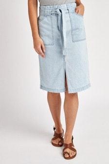 Джинсовая юбка миди с поясом
