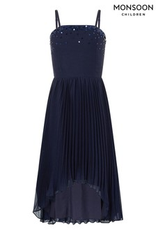 Monsoon Navy Vienna Pleated Prom Dress