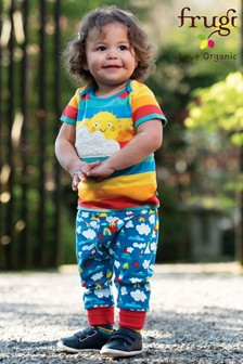 Frugi Organic Style Trousers In Rainbow And Mountain Print