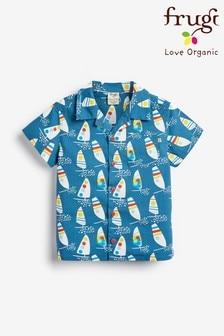 Chemise à imprimé windsurfer hawaïen Frugi® bleue en tissu bio GOTS