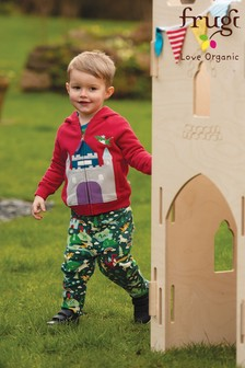 Frugi GOTS Organic Green Dragon And Purple Reversible Jersey Pull Up Trousers