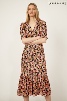 Warehouse Black Belted Waist Floral Midi Dress