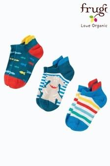 Набор укороченных носков из органического хлопка с принтом акул Frugi® (3 пары)