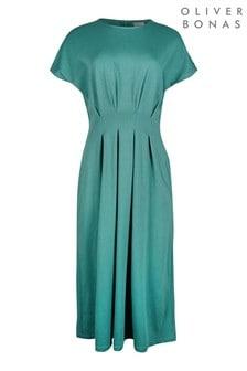 Oliver Bonas Sage Green Pleated Waist Jersey Midi Dress