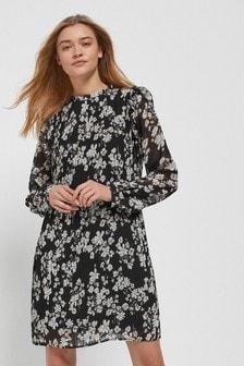 Плиссированное платье с присборенной горловиной