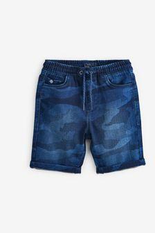 Трикотажные джинсовые шорты (3-16 лет)