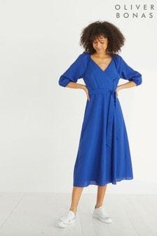 Синее фактурное платье миди с запахом Oliver Bonas