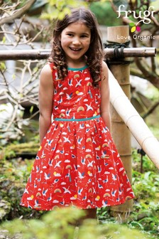 Frugi® Red GOTS Organic Party Dress In Crane Print
