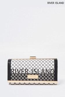 River Island Black Graphic Monogram Clip-Top Bag