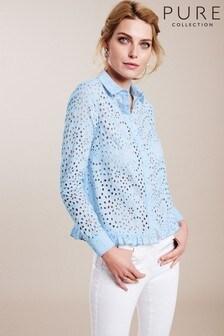חולצה קצרה עם קפלים של Pure Collection דגם Broderie Anglaise בכחול