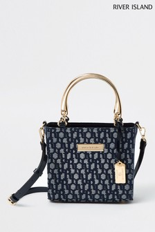 River Island - Borsa shopping piccola in jacquard blu