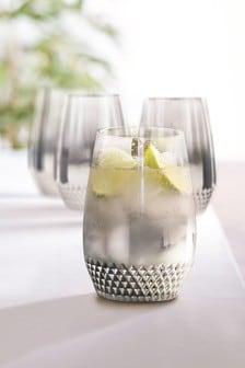 Komplet 4 szklanek Rosa z metalicznym wykończeniem i ozdobnym tłoczeniem