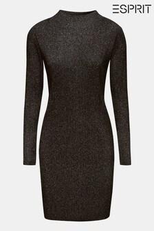 Esprit Black Sparkle Dress With Roll Neck