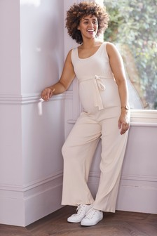 Maternity Jersey Ribbed Jumpsuit