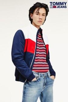 Tommy Jeans ブルー カラーブロック パッド入りジャケット