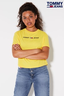 Tommy Jeans Yellow Modern Linear Logo T-Shirt