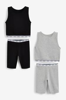 2 Pack Longline Short Pyjamas With Vest Top (3-16yrs)