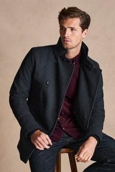 Kabát so stojačikovým golierom s dvojradovým zapínaním