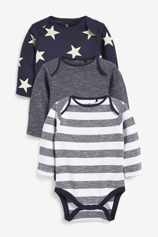 3 Pack Star Long Sleeve Bodysuits (0mths-2yrs)