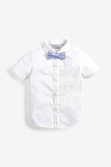 高級短袖Tonal印花襯衫附藍色絲質蝴蝶結領帶 (3個月至7歲)