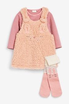 طقم فستان مريلة فرو صناعي مزينة بشخصية وسترة وجوارب طويلة (أقل من شهر - سنتين)
