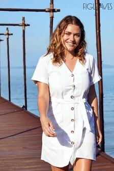 Figleaves White San Sebastian Button Down Mini Shirt Dress