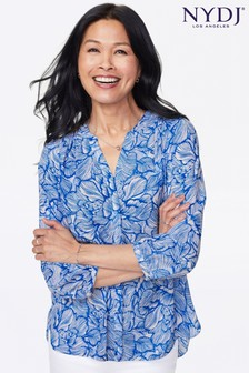 NYDJ Blue Print Pintuck Blouse