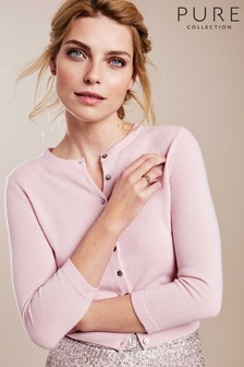 Pure Collection Pink Cashmere Cropped Cardigan